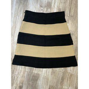 Kate Spade Colorblock Skirt Black Taupe 4 Wool